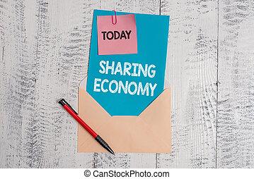 stylo bille, texte, economy., collant, économique, vide, note, basé, accès, arrière-plan., photo, conceptuel, partage, projection, enveloppe, lettre, feuille, signe, marchandises, bois, papier, modèle, fournir