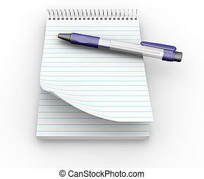 stylo, bloc-notes