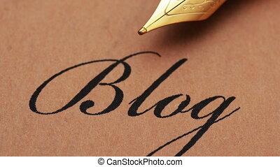 stylo, blog, haut, fontaine, fin