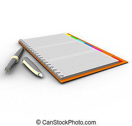 stylo, cahier, tridimensionnel, fond, blanc