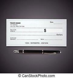 stylo, chèque banque, gabarit, vide