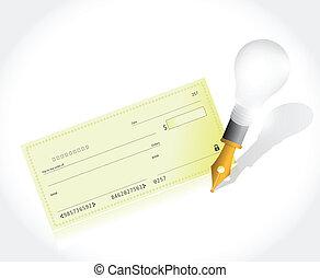 stylo, chèque banque, illustration