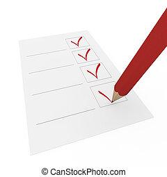 stylo, chèque, rouges, 3d