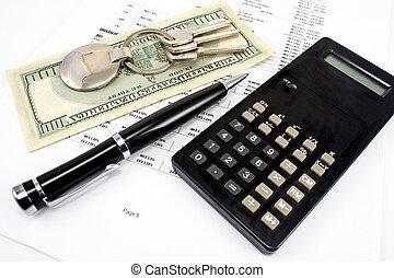 stylo, clef maison, calculatrice, et, taux intérêt, sur,...