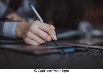stylo, concepteur, main