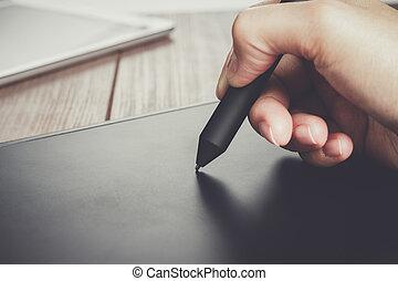 stylo, concepteur, tablette, main