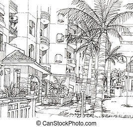 stylo, condominium, ligne, architecture, dessin