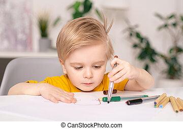 stylo, dessin, feutre, garçon