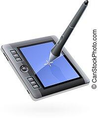 stylo, dessin, moniteur, tablette, numérique