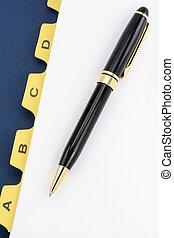 stylo, diviseur, jaune, fichier