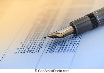 stylo, données, compte, nombres