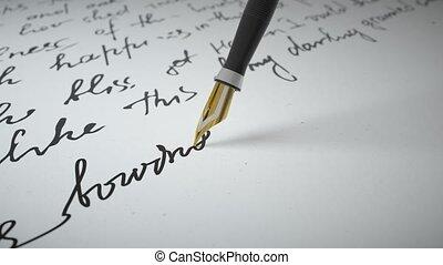 stylo encre, écrit, vers, papier, grand plan