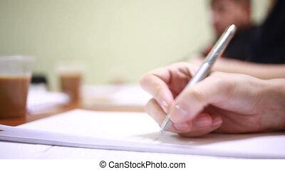stylo, femme affaires, main