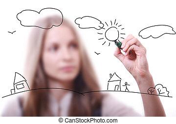 stylo, femme, jeune, dessin
