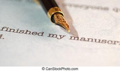 stylo, fontaine, édition, lettre