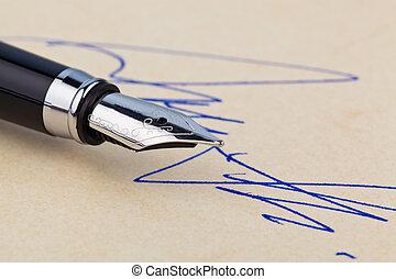 stylo, fontaine, signature