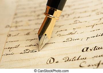 stylo fontaine, sur, a, lettre