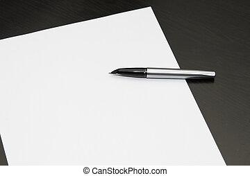 stylo fontaine, sur, feuille