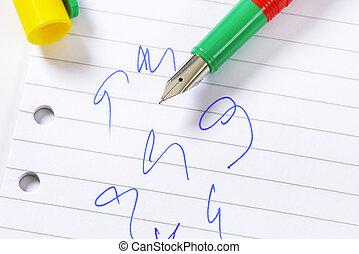 stylo fontaine, sur, papier
