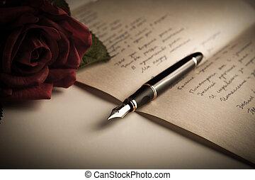 stylo fontaine, sur, texte, feuille, papier, à, rose