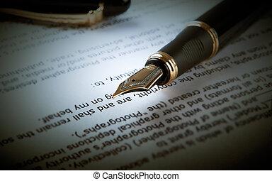 stylo fontaine, sur, texte, feuille, papier, 2