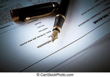 stylo fontaine, sur, texte, feuille, papier, contrat