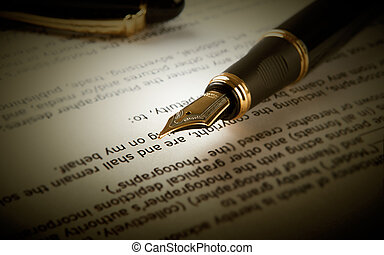 stylo fontaine, sur, texte, feuille, papier