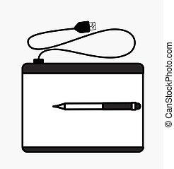 stylo, graphique, retro, tablette