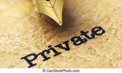 stylo, haut, fontaine, texte, privé, fin