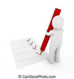 stylo, humain, chèque, rouges, 3d