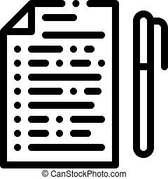 stylo, icône, contour, illustration, vecteur, vote, feuille