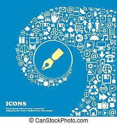 stylo, icône, ., gentil, ensemble, de, beau, icônes, tordu, spirale, dans, les, centre, de, une, grand, icon., vecteur