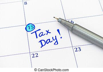stylo, impôt, calendrier, jour, rappel