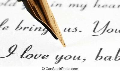 stylo, lettre, fontaine, haut fin, amour