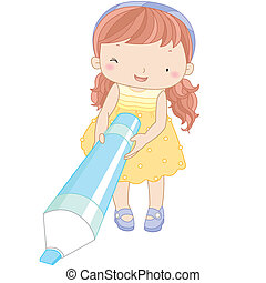 stylo marqueur, girl, illustration