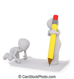 stylo, papier, blanc, écriture