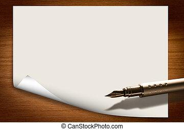 stylo, papier, fond, vide