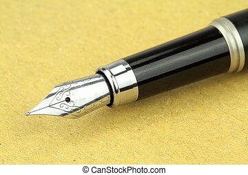 stylo, papier, fontaine, copie, espace