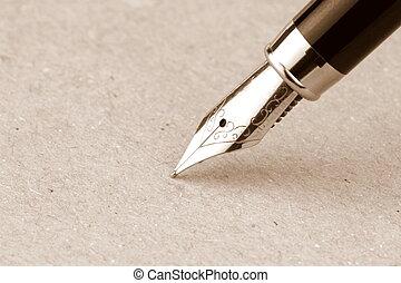 stylo, papier, fontaine