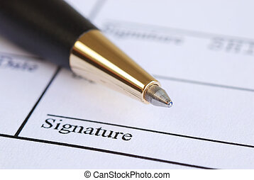 stylo, papier, nom, signe