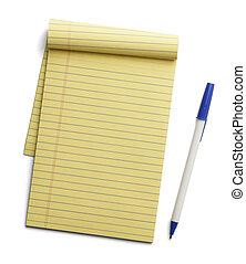 stylo, papier, tampon, jaune