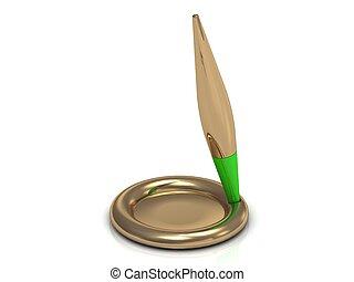stylo, partie, vert, or