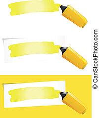 stylo, pointe feutre, jaune