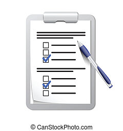 stylo, presse-papiers, liste, chèque