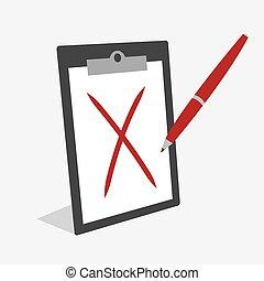 stylo, presse-papiers, marque, x