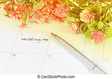stylo, rappel, calendrier, jour, mariage