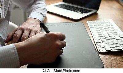 stylo, tablet., tablette, numérique, ou, utilisation, concepteur, homme, photographe, dessin