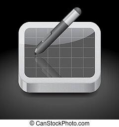 stylo, tablette, icône