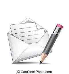 stylo, vecteur, courrier