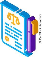 stylo, vecteur, isométrique, droit & loi, icône, papier, illustration, tribunal, jugement, feuille